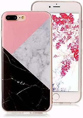 Funda Mármol para iPhone 7 Plus, iPhone 8 Plus Case, Ronger Carcasa Gel TPU Silicona Marble Case Cover Funda Ultra Fino Flexible con Patrón de Piedra ...
