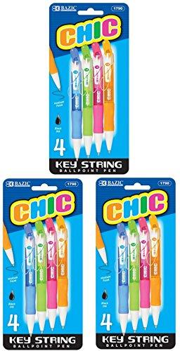 3 Pk, Bazic Chic Key String Mini Ballpoint Pen, 4 Per Pack (Total of 12 Pens)
