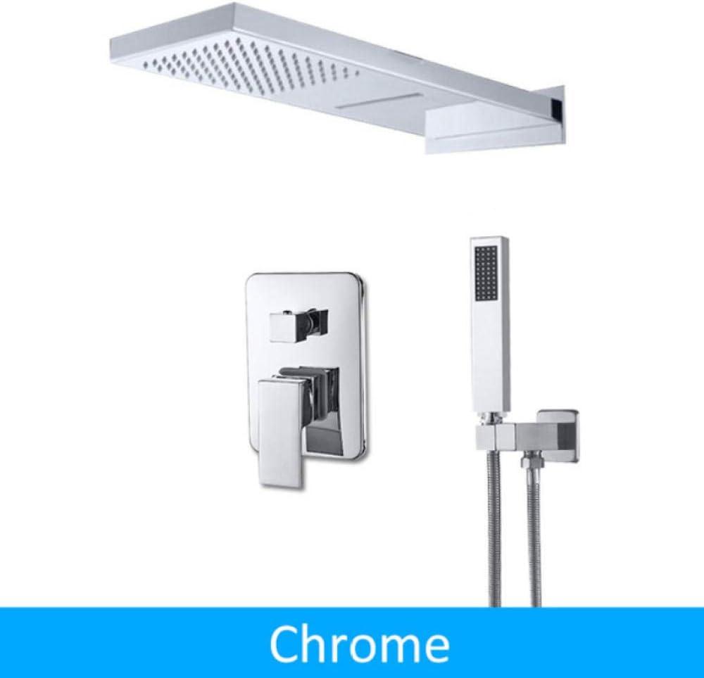 Chrome Shower Faucet Rain Waterfall Head Faucet Set Valve Mixer Tap Hand Sprayer