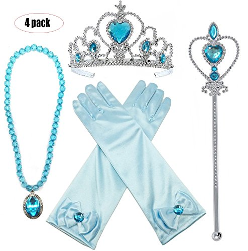Buufan Girl Princess Dress up Accessories Costume Princess Elsa Cosplay Queen Jewelry-Crown Wand Gloves Necklace Halloween Party Kids Birthday Party,4 Pieces Set for $<!--$9.99-->