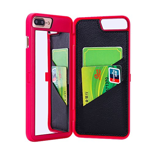 SUNYI iPhone 8 Case, Fashion Hidden Mirror Wallet Cover Card Slots Stand Feature Premium PU Leather Watering Grain PC Phone Back Cover Case for iPhone 8 (Hot Pink)