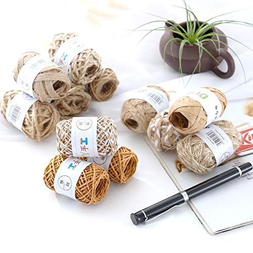 Natural Jute Twine,Etercycle 12 Rolls 394 Feet Jute Rope,Durable Hemp String,Photo Clips String,Craft String for DIY Crafts,Artworks,Decoration,Bundling and Other Decor Project
