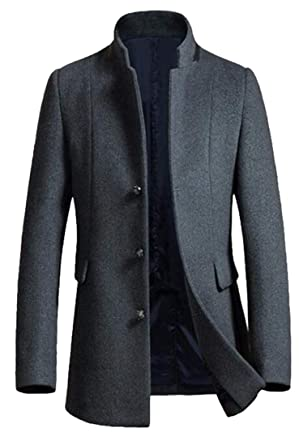 Mens Classic Winter Trench Coat Chaqueta larga botón más abrigo Grey XS