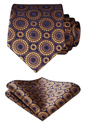 HISDERN Dot Floral Wedding Tie Handkerchief Woven Classic Men's Necktie & Pocket Square Set Gold & Navy Blue