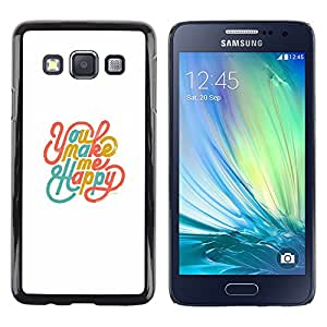 iKiki Tech / Estuche rígido - You Make Me Happy White Teal Gold - Samsung Galaxy A3 SM-A300