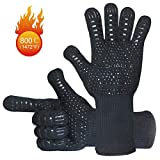 MONALBA Extreme Heat Resistant BBQ Grill Gloves, Pot Holders Withstand Heat 1472℉ Premium Barbecue & Oven Mitts CE Certified 14' Insulated by Aramid Kitchen Gloves for Grilling Cooking Baking(Black)