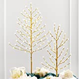 BrylaneHome 4' Lighted Gold Bead Tree (Gold,0)