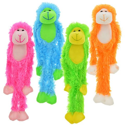 Plush Blue Monkey - Bundle: 4 Items- 1 of Each Color Bright Pink Green Blue and Orange Fuzzy Friends Plush Monkey with Velcro Hands 19.5 long