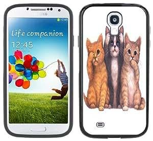 meilz aiaiSee Hear Speak No Evil Cats Kittens Handmade Samsung Galaxy S4 Black Bumper Hard Plastic Casemeilz aiai