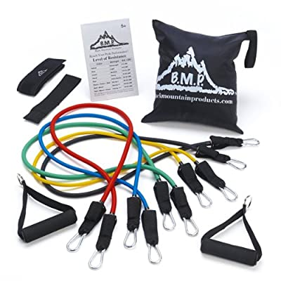 Black Mountain Products Resistance Band Set with Door Anchor, Ankle Strap, Exercise Chart, and Resistance Band by Black Mountain Products