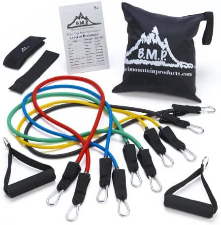 Black Mountain Products Resistance Band Set with Door Anchor, Ankle Strap, Exercise Chart, and Resistance Band