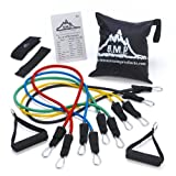 Black Mountain Products Resistance Band Set with Door Anchor, Ankle Strap, Exercise Chart, and Resistance Band (Sports)