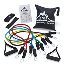 Black Mountain Products Resistance Band Set With Door Anchor, Ankle Strap, Exercise Chart, & Carrying Case