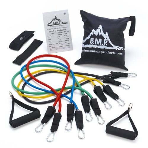 Black Mountain Products Resistance Band Set with Door Anchor, Ankle Strap, Exercise Chart, and Carrying (Achieve Stackable)