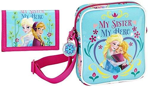Disney Frozen - Mini Schultertasche und Portmonee; hellblau, rosa