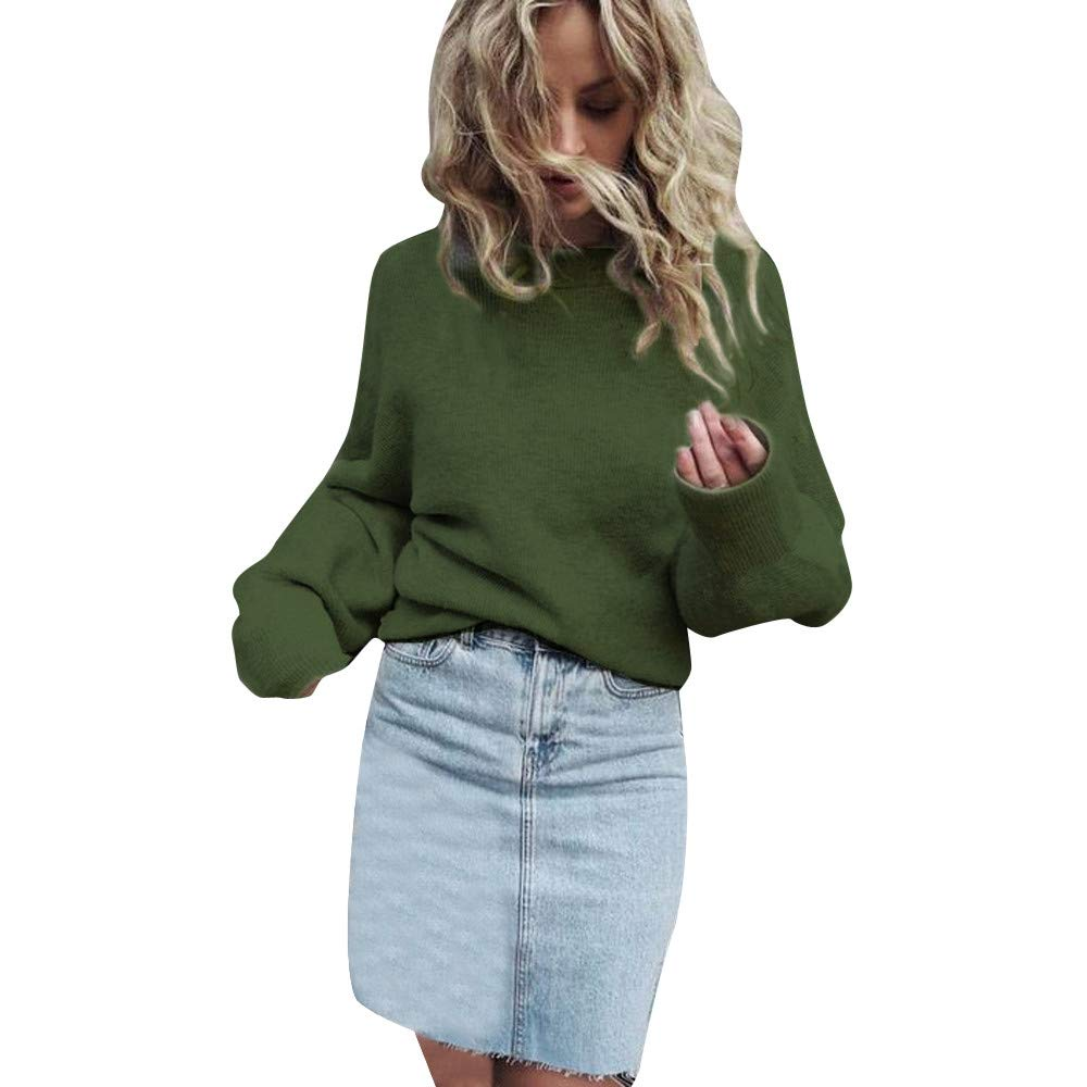 YANG-YI HOT, Women's Knitted Long Sleeve Loose Sweater Pullover Jumper Tops
