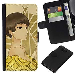 A-type (Chica Anime japonés) Colorida Impresión Funda Cuero Monedero Caja Bolsa Cubierta Caja Piel Card Slots Para Samsung ALPHA G850