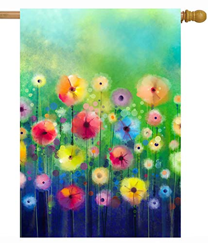 ShineSnow Watercolor Abstract Spring Summer Seasonal Green Floral Flowers Art House Flag 28