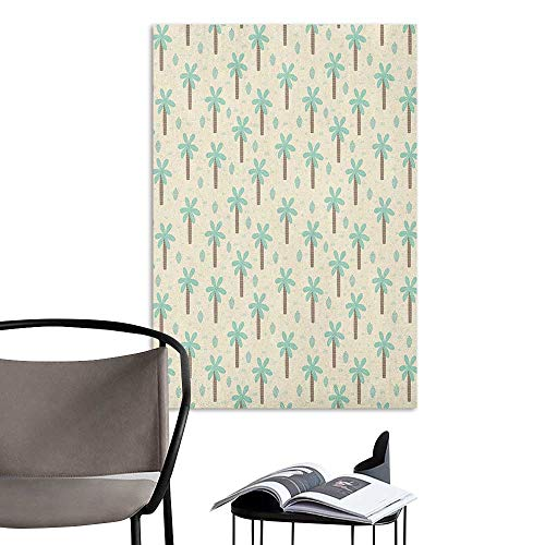 Cocoa My Coconut - Stickers Wall Murals Decals Removable Palm Tree Cartoon Style Pattern with Coconut Trees and Cactus Exotic Growth Cream Cocoa Mint Green Elevator Stairs Wall W8 x H10