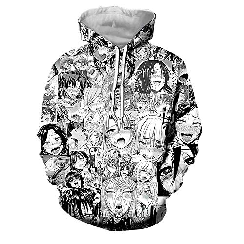 CHENMA Unisex Funny Ahegao 3D Print Pullover Hoodie Sweatshirt with Front Pocket