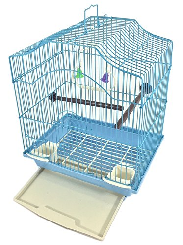EDMBG Bird Cage KIT Blue Starter Set Perches Swing Feeders Scalloped Top Small Bird by EDMBG