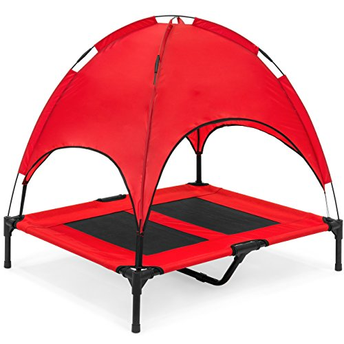 Best Choice Products 36in Outdoor Raised Mesh Cot Cooling Dog Pet Bed for Camping, Beach w/Removable Canopy, Travel Bag - Red