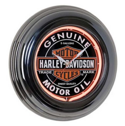Harley-Davidson Genuine Oil Can Orange Neon Clock HDL-16617