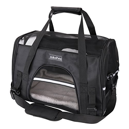 Cat Carrier Pet Carrier Large Bag Breathable Soft-sided Portable Pet Carriers for Dogs and Cats Blue Large Size (L:20.5''x13.8''x10'', Black)