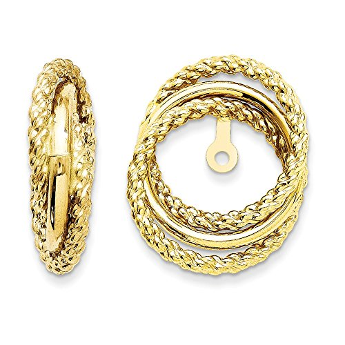 14k Yellow Gold Polished & Twisted Fancy Earrings Jackets (0.6IN x 0.5IN ) by Jewelry Pot
