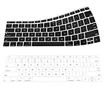 """MoKo Macbook Pro 13 / Macbook 12 Keyboard Cover, [2-PACK] Soft Silicone Keyboard Skin Protector for Newest MacBook 12 Inch A1534 / Macbook Pro 13"""" A1708 (No Touch Bar, Released 2016), Black & White"""