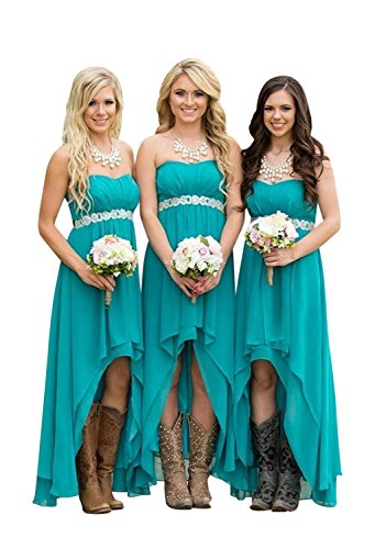 ScelleBridal Women' Strapless High Low Bridesmaid Dresses Wedding Party Gowns -