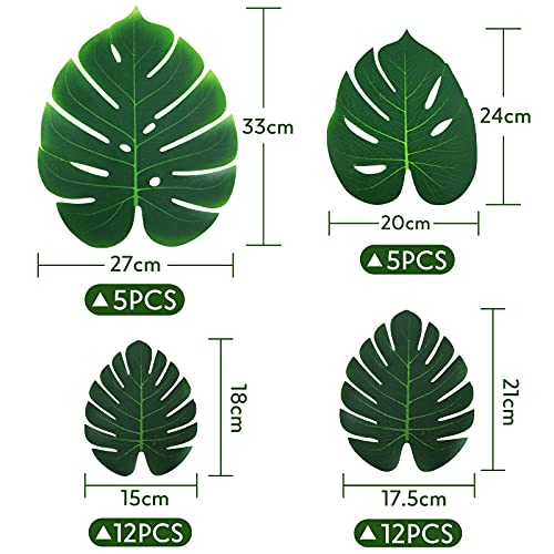 HAKACC Faux Monstera Leaves, 34PCS Tropical Leaves Palm Leaves for Hawaiin Jungle Theme Party Decorations