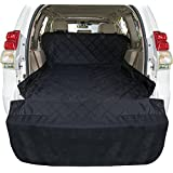 Ace Teah SUV Cargo Liner Cover, Large Waterproof Dog Car Seat Cover Pet Cargo Protector Mat Universal Fit for All Cars, Trucks, SUVs with Extra Bumper Flap & Larger Non-Slip Backing Net - Black