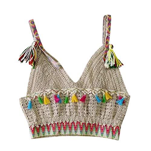 Tank Tops for Women, Summer Lace Fashion Mesh Fringe Weave Bohemian Beach Tank Tops Khaki ()