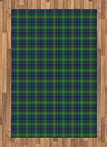 Cheap  Ambesonne Plaid Area Rug, Grunge Looking Vibrant Colored Scottish Folkloric Pattern with..
