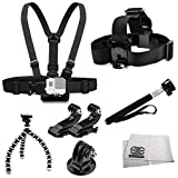 Accessory Kit Includes Chest Mount + Head Mount + 2 J-Hooks Mounts + Selfie Monopod + Gripster + Tripod Adapter + Microfiber Cleaning Cloth for GoPro HERO4 Session - HERO4 - HERO3+ - HERO3 (Black - Silver & White) - HERO & HERO+ LCD