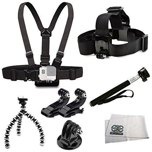 Accessory Kit Includes Chest Mount + Head Mount + 2 J-Hooks Mounts + Selfie Monopod + Gripster + Tripod Adapter