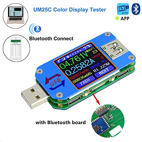 (MakerHawk UM25C USB Tester, Bluetooth USB Meter, Type-C Current Meter, USB Power Meter, DC 24.000V 5.0000A, USB Cable Tester, 1.44 Inch Color LCD Multimeter, Voltage Tester, USB Load, QC 2.0 QC 3.0)
