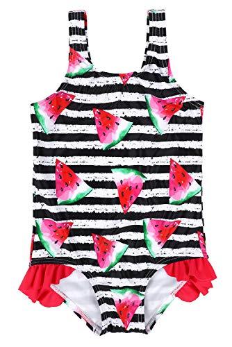 CharmLeaks Girls Cute Watermelon one Piece Swimsuits Striped Swimwear Baby Swimming Costume 6-12 -