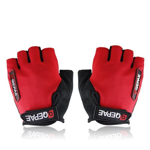 QEPAE Non-Slip Gel Pad Gloves Men's Women's Sportswear Cycling Riding Short Half Finger Gloves Breathable - M Red