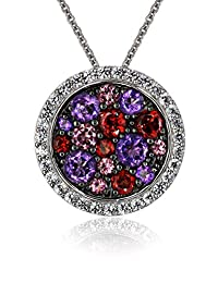 Sterling Silver Round-Shape Multicolor Pendant Necklace, 18""