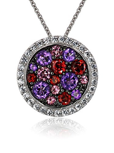 Sterling Silver Multi Color Stone - Sterling Silver Multicolor Stones Round Shape Pendant Necklace, 18
