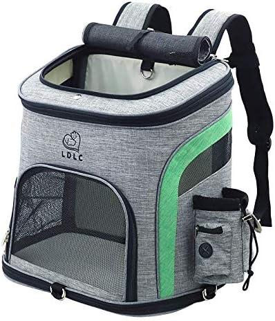 REAYOU Portador de Viaje Mochila Bolsa de Transporte para Mascotas Perros Gatos Transportín Jaula Capazos Transportadoras Mochila Plegable para Perros Gatos (Green-L)