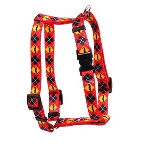 Yellow Dog Design Moustaches with Argyle 14-Inch to 20-Inch Harness, Small/Medium (Pattern Yellow Argyle)