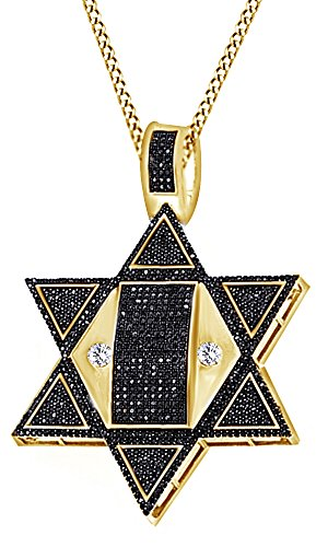Round Cut Black & White Cubic Zirconia Star Hip Hop Pendant in 14k Yellow Gold Over Sterling Silver (3.34 Cttw) by AFFY
