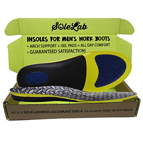 Insoles for Men's Work Boots :: Full Length :: Comfort Orthotic :: Replacement Inserts with Adaptive Arch and Gel Insert, Size (10.5, 11, 11.5, 12 or EU 43, 44, 45)