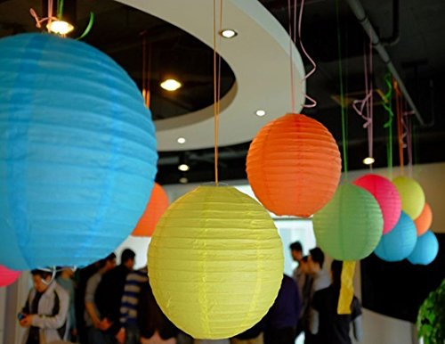 """LURICO 16 Pcs Colorful Paper Lanterns (Multicolor,Size of 4"""", 6"""", 8"""", 10"""") - Chinese/Japanese Paper Hanging Decorations Ball Lanterns Lamps for Home Decor, Parties, and Weddings by LURICO (Image #5)"""
