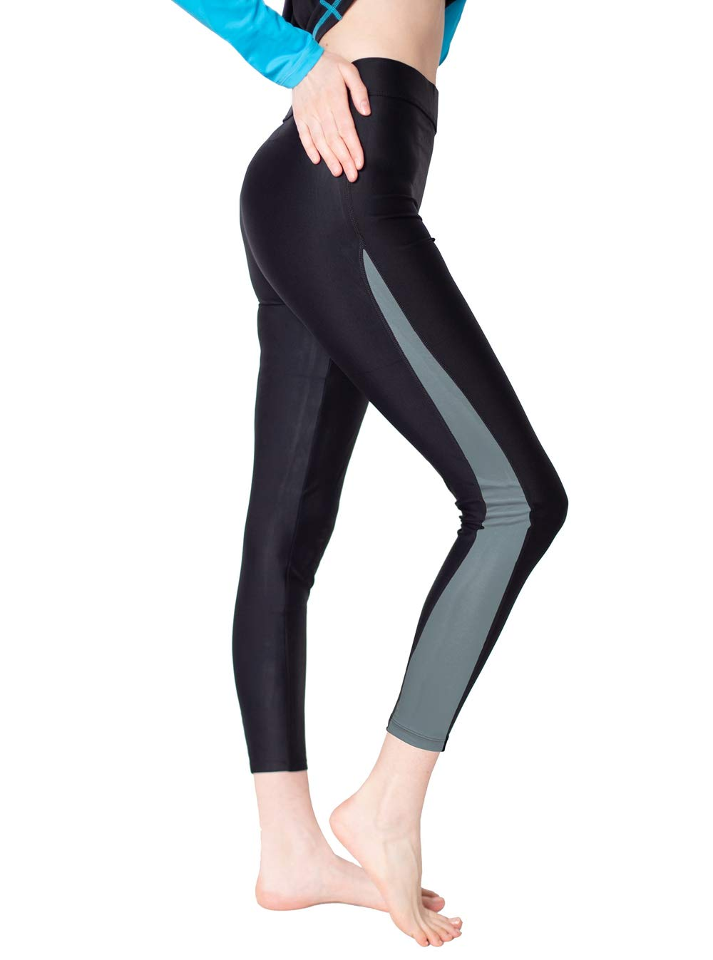 Women's Swim Capris Leggings Grey S by Scodi