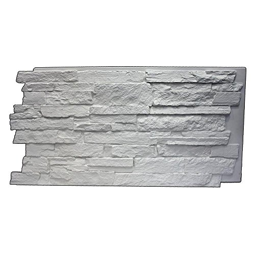 Superior Building Supplies Dove White 243/4 in x 483/4 in x 11/4 in Faux Mountain Ledge Stone Panel