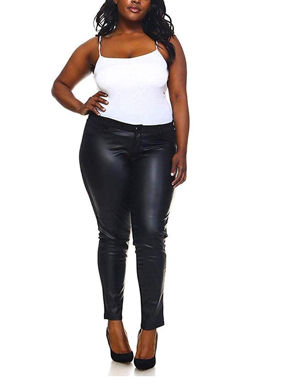 f13266f021e7 1826 Faux Leather Black Stretch Women's PLUS SIZE SKINNY Ponte/PU PANTS  Clubwear at Amazon Women's Clothing store: